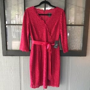 Adrianna Papell lace faux wrap dress w/ribbon belt
